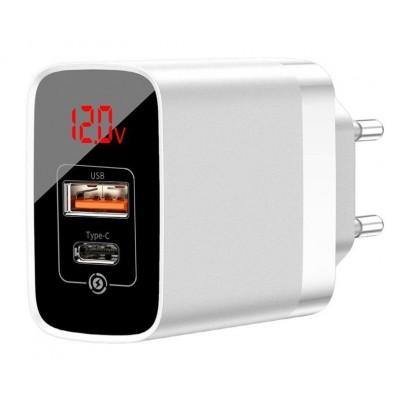 Адаптер мережевий Baseus Mirror Lake PPS Digital Display QC 1xUSB+Type-C (5V 3.0A) White
