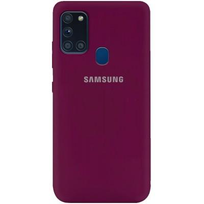 Накладка Silicone Cover Full для Samsung Galaxy A21s Marsala