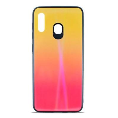 Накладка Glass Case Shine Gradient для Samsung A305 / A205 Sunset Red