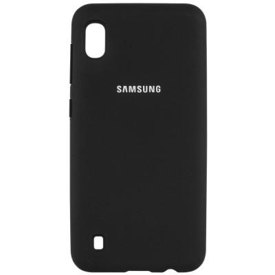 Накладка Silicone Cover для Samsung A105 (A10 2019) Silky&Soft Touch Black