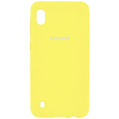 Накладка Silicone Cover для Samsung A105 (A10 2019) Silky&Soft Touch Yellow