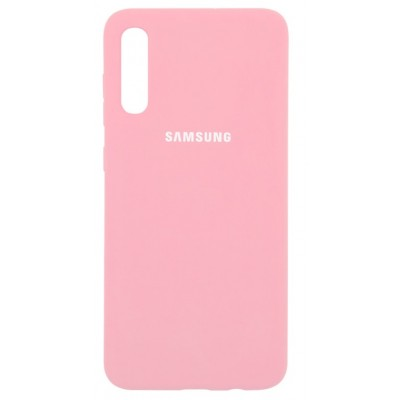 Накладка Silicone Cover для Samsung A705 (A70 2019) Silky&Soft Touch Light Pink