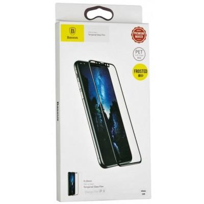 Захисне скло 3D Baseus Frosted iPhone X 0,23mm Anti-Blue Black