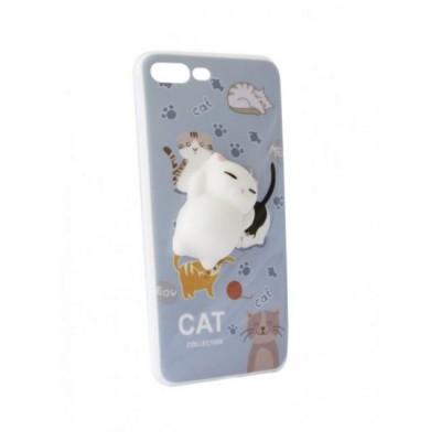 """Чехол """"силікон"""" Florence 3D+ Cat iPhone 7 Plus Blue"""