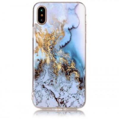 Чехол силікон Omeve Stone iPhone X Мрамор Голубой/Золотой