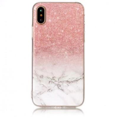 Чехол силікон Omeve Stone iPhone X Мрамор Розовый