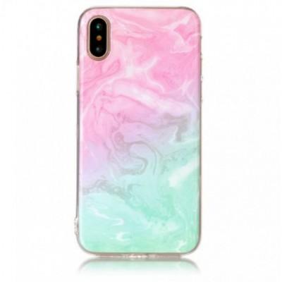 Чехол силікон Omeve Stone iPhone X Мрамор Розовый/Бирюзовый