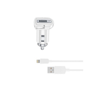 Автомобільний зарядний пристрій Cellularline  + кабель Lightning (5V 2100 mAh) White