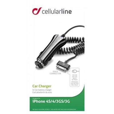 Автомобільний зарядний пристрій CellularLine iPhone 4/4S (12-24V 700mAh) Black