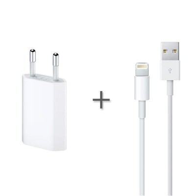 Мережевий зарядний пристрій iPhone + кабель Lightning (5W) HC