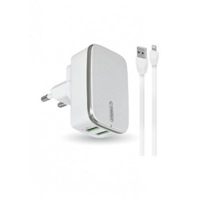 Мережевий зарядний пристрій 2xUSB Profit ES-D47 (5V 2.4A) + кабель Lighting White-Grey