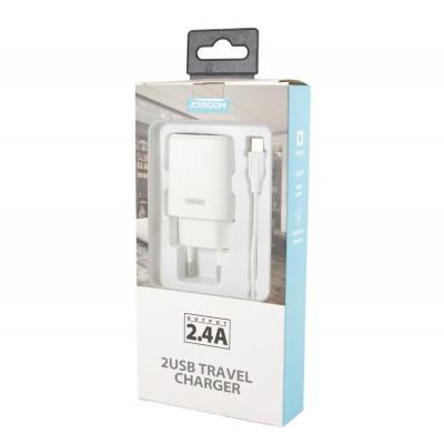 Мережевий зарядний пристрій 2xUSB Joyroom L-L221 (5V 2.4A) + кабель Micro USB White