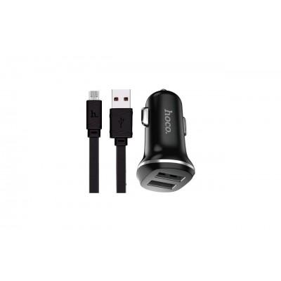 Автомобільний зарядний пристрій 2xUSB Hoco Z1 + Micro USB (2,1A) Black
