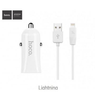Автомобільний зарядний пристрій 2xUSB Hoco Z12 + Lightning (5V 2,4A) White