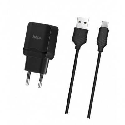 Мережевий зарядний пристрій Hoco 2xUSB C-12 (5V 2400 mAh) + кабель Micro USB Black