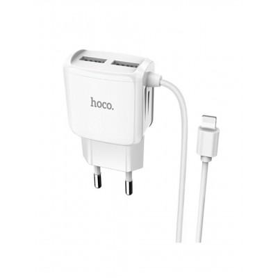 Мережевий зарядний пристрій Hoco 2xUSB C59A Mega Joy (5.0V 2.1A) + кабель micro USB White