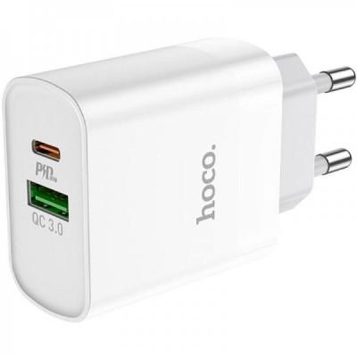 Мережевий зарядний пристрій Hoco C80A 1xUSB +Type-C QC3.0 (3.1A) White