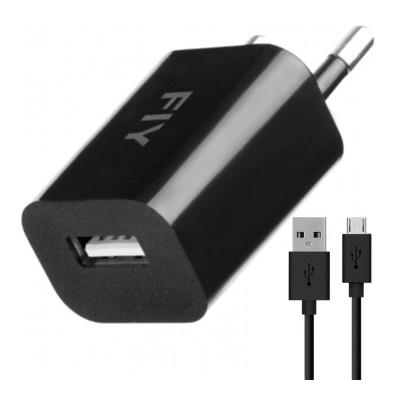 Мережевий зарядний пристрій Fly + кабель Micro USB (5V 1000 mAh) (оригінал з комплекту)