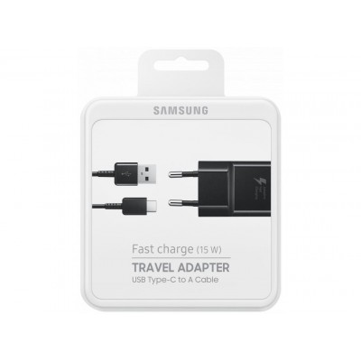 Мережевий зарядний пристрій Samsung + Type-C Fast Charge (EP-TA20EBECGRU) Black