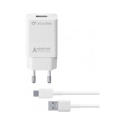 Мережевий зарядний пристрій CellularLine + кабель Micro USB  (5V 1000mAh) White