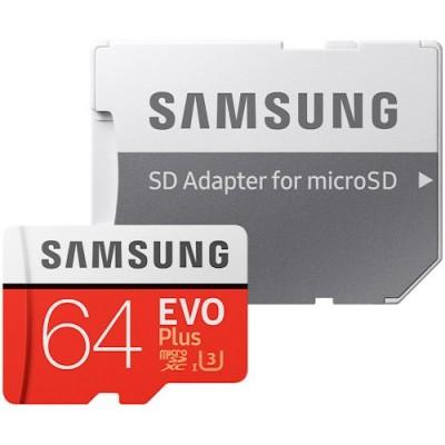 Карта пам'яті 64Gb Samsung EVO Plus Class 10 UHS-3 + SD (100/60 MB/s)