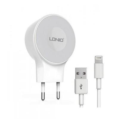 Мережевий зарядний пристрій 2xUSB LDNIO 2,1A (A2269) + Lightning White