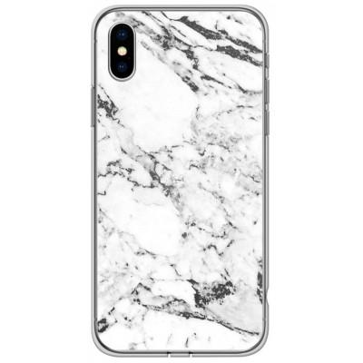 Накладка силікон мармур для iPhone X/XS White