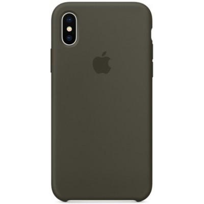 Накладка Silicone Case для iPhone XS Max Green Grey