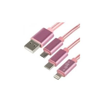 Кабель Fast DM-015 3in1 (Micro usb+Type C+Lightning)