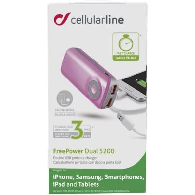 Додатковий акумулятор 5200 mAh CellularLine USB Free Power Dual Pink