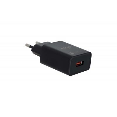 Адаптер мережевий Ergo 1xUSB EWC-130QC (QC 3.0, 18W) Black