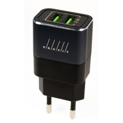 Адаптер мережевий Profit ES-D41 2xUSB (5V, 2.1A) Black-Grey