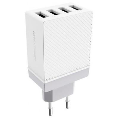 Адаптер мережевий Hoco C23B Cool 4xUSB (5.0V 3.4A) White