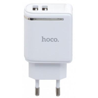 Адаптер мережевий Hoco 2xUSB C39A LED (5.0V 2.4A) White