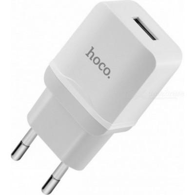 Адаптер мережевий Hoco C22A 1xUSB (5V, 2.4A) White