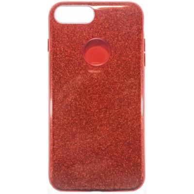 """Чохол  iPhone 7 """"силікон"""" з блискітками Red"""