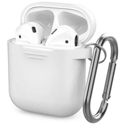 ЧохолSilicon Case AirPods (+Карабін) White