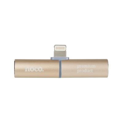 Lightning Adapter 2in1 Hoco LS4 (Lightning/3,5mm. Headphone) Gold