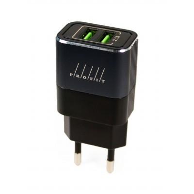 Мережевий зарядний пристрій 2xUSB Profit (5V 2A) + кабель Lightning Black